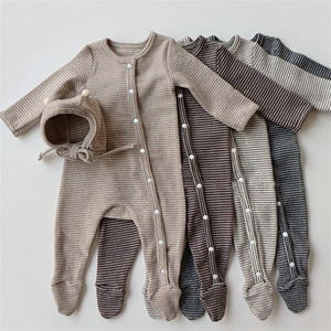 Newborn Baby Girls Clothes Button Striped Rompers Long Sleeve Wrapped Foot Boys Jumpsuit With Hat Autumn Infant Playsuit Cotton