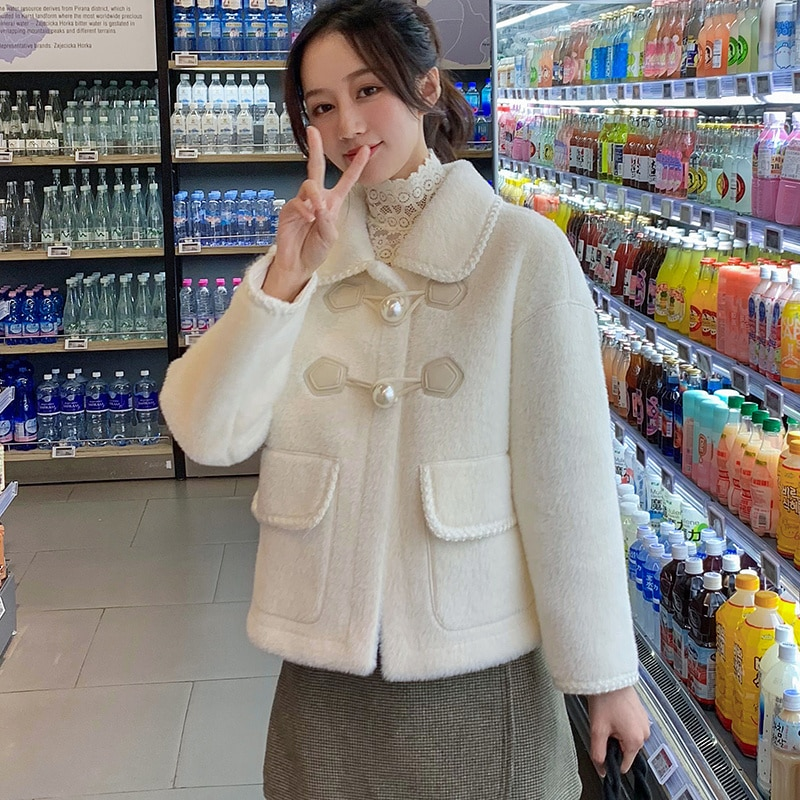 2021 Spring and Autumn Women's Short Loose Imitated Mink Fluff Woolen Coat
