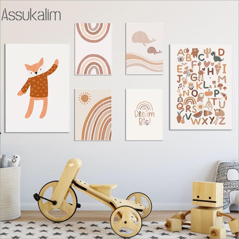 Impresiones de arte de arco iris para pared de guardería, póster ABC...