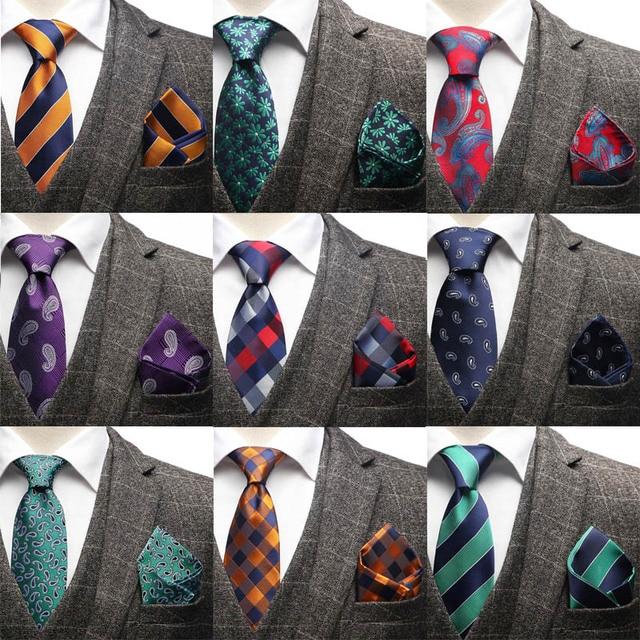 HOT 7.5cm Men Silk Neck Tie Striped plaid Paisley Necktie Handkerchief Set Men's Classic Party Wedding Pocket Square Tie Sets