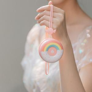Fashion Donut 2-in-1 Rechargeable Student Portable Pocket Fan Handheld Mini Usb Hanging Neck Fan