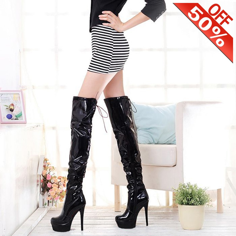 New Women Winter Work Shoes 6 Inch High Heel Boots Silver Over The Knee Boots Round Heels 15cm Long Boots Models Party Shoes