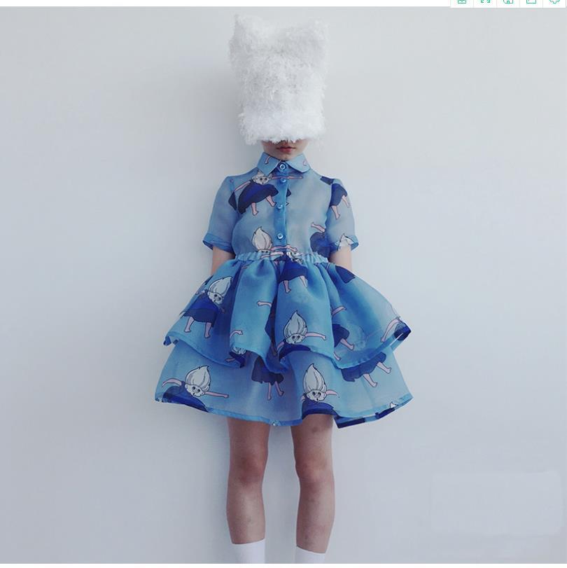 Ins-فستان صيفي للبنات ، ملابس مطبوعة ، ثوب الكرة ، متعدد الطبقات ، 2-6 سنوات ، ws1561 ، 2020