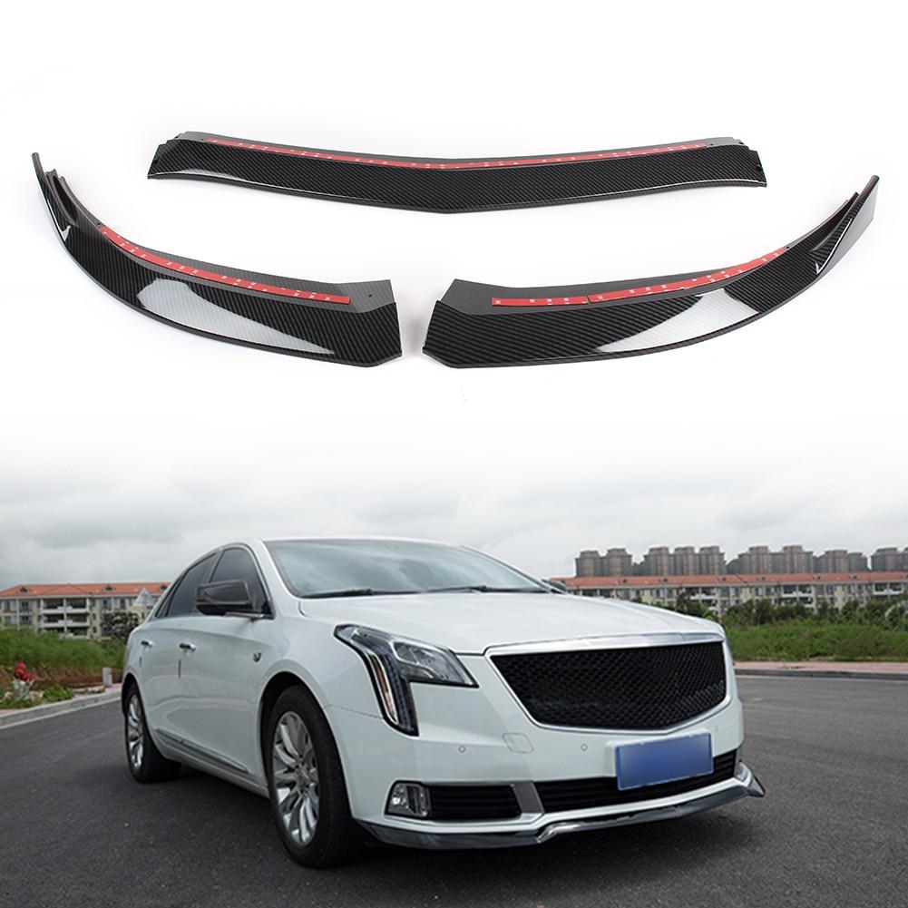 3 pçs/set Para Cadillac XTS Frente Car Bumper Lip Spoiler Lábio Lábios Defletor Guarda Corpo Kit Capa Guarnição 2018 2019 ABS Plástico