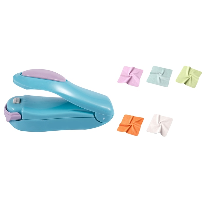 10 pçs óculos chamois pano de limpeza de microfibra pano limpar lente sn do telefone móvel & 1 pcs portátil mini selagem a calor machi