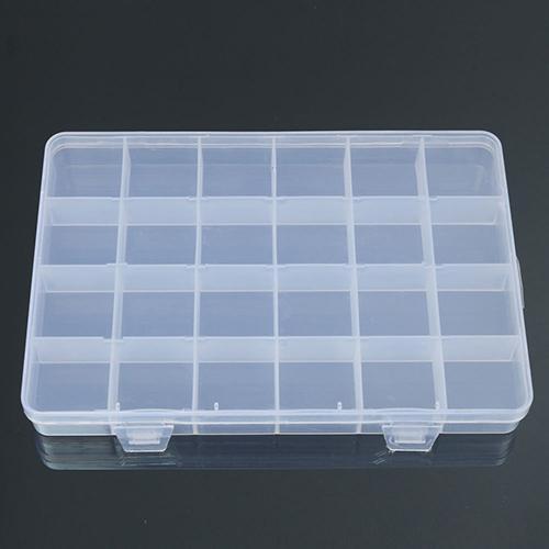 24 Compartments Plastic Box Case Jewelry Bead Storage Container Craft                                                  Organizer