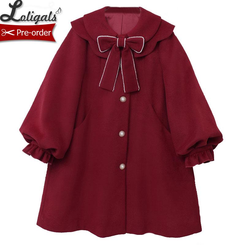 Милое женское длинное шерстяное пальто теплая куртка Лолита Alice Girl ~ предзаказ