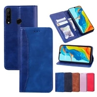 leather phone coque for huawei p40 lite e p30 pro y7 y6 y9 prime 2019 p smart z flip wallet case card holder full body protect