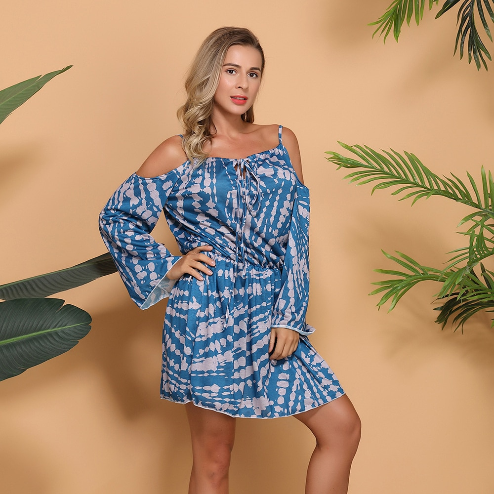 off shoulder self tie waist dress Women's autumn and winter dress long sleeve tie dyed off the shoulder dress