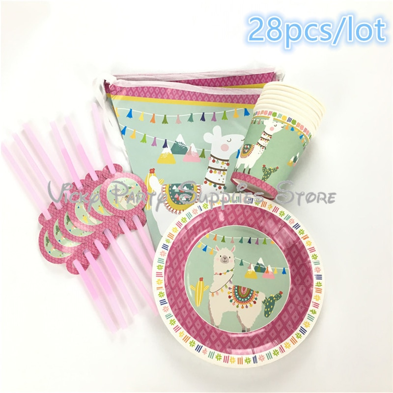 28 unids/lote de vajilla desechable de Alpaca Cactus de dibujos animados para cumpleaños de niños, ducha de bebé, taza y plato de papel, bandera, suministros de decoración para fiesta