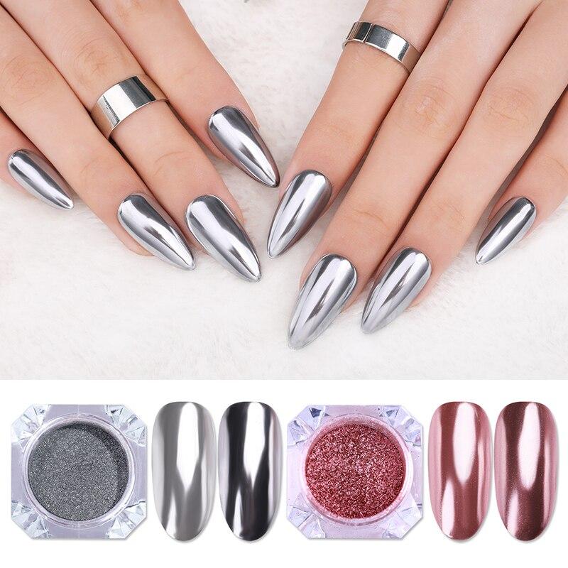 Oro rosa, para uñas espejo brillo polvo metálico Color gel UV para arte de uñas pulido cromo escamas de pigmento polvo decoraciones