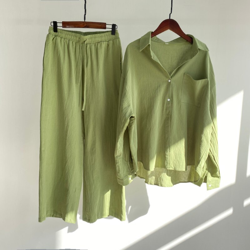 Msfancy Summer Two Piece Set Women 2021 Cotton Shorts Sets Vintage Boho Oversized Shirt High Waist Loose Shorts Mujer Sets