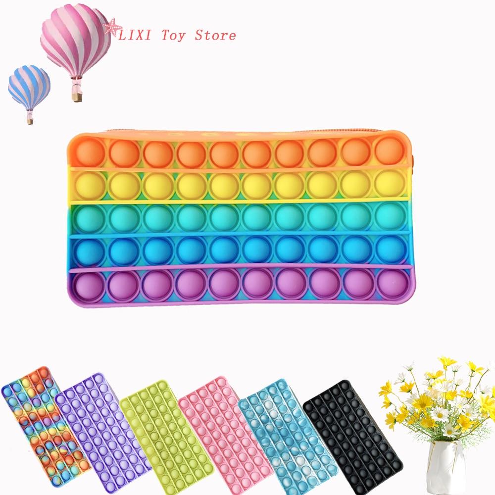 Pop Colorful Pencil Case Push Bubble Fidget Toys Squishy Stress Reliever Toys Antistress Storage Bag Anti-stress Fidget Toy Gift