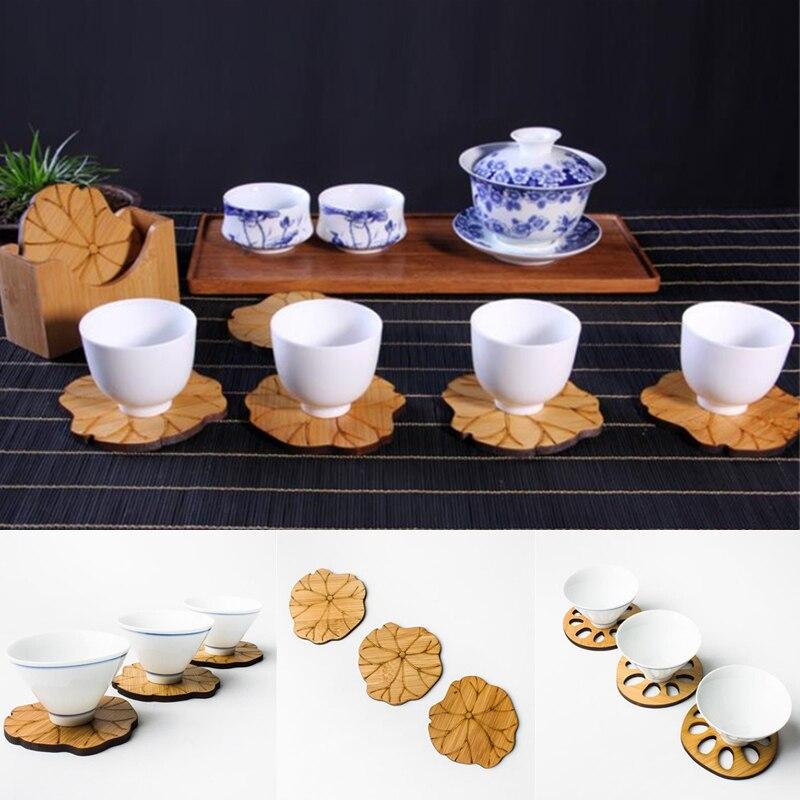 Ensemble de gobelets en bois feuille de Lotus   Set de sous-verres de boisson, napperon tapis, tasses de café soucoupe ménagère, outils daccessoires de décoration