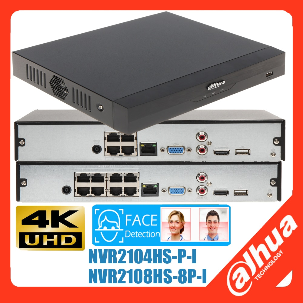 متعدد اللغات داهوا DHI-NVR2104HS-P-I DHI-NVR2108HS-8P-I 8PoE AI الوجه 4K H.265 NVR 12Mp قرار شبكة مسجل فيديو