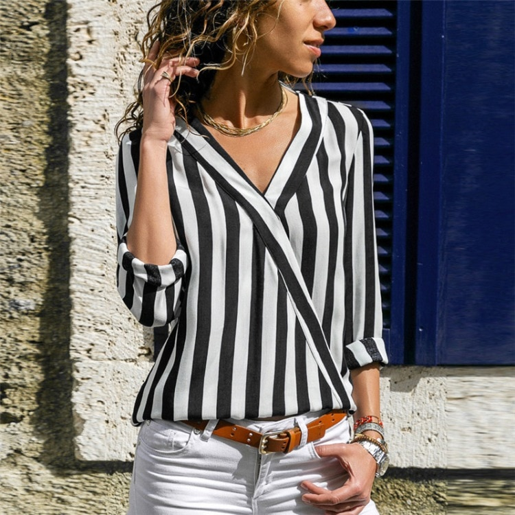 Women striped blouse Shirt Long Sleeve Blouse V-neck Shirts Casual Tops Blouse meat Chemisier Femme Blusas Mujer de Moda -CH29  - buy with discount