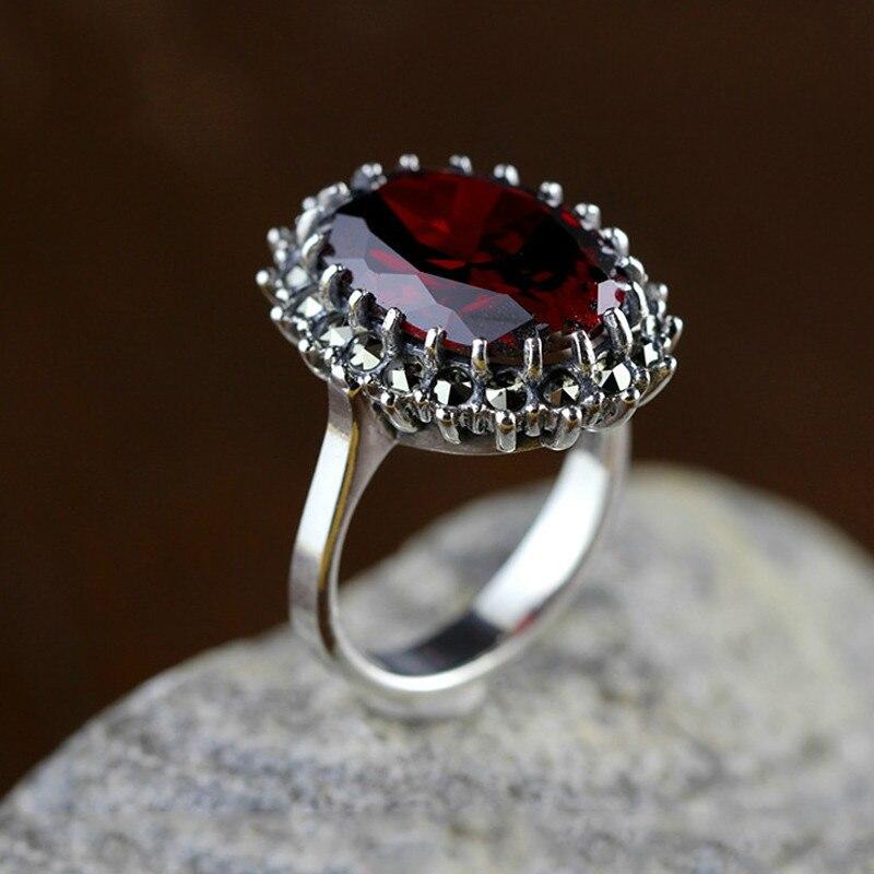خواتم من الفضة الإسترليني عيار 925 مرصعة بحجر العقيق الأحمر الطبيعي ، مجوهرات راقية ، لحفلات الزفاف