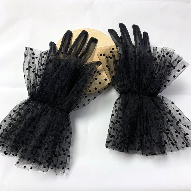 Черные, белые прозрачные кружевные тюлевые перчатки, тонкие свадебные перчатки для невесты, свадебные перчатки, Вечерние перчатки для фото...