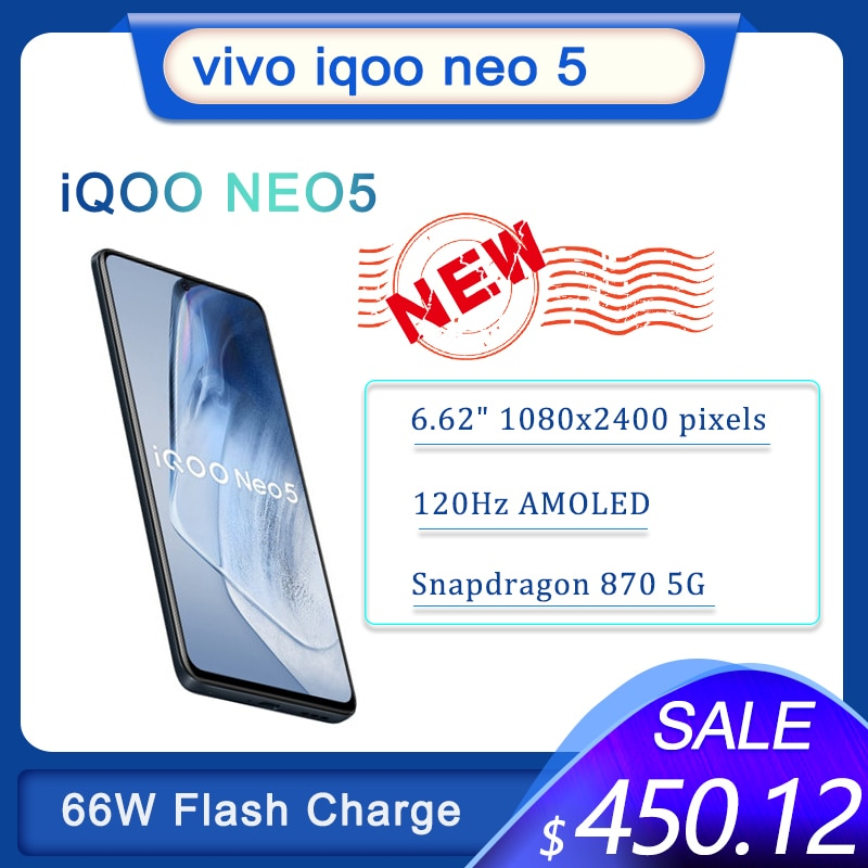 Перейти на Алиэкспресс и купить Новый оригинальный IQOO Neo 5 5G Смартфон Snapdragon 870 66W тире зарядки мобильного телефона Android 120 Гц активно-матричные осид, Экран Google Play Store