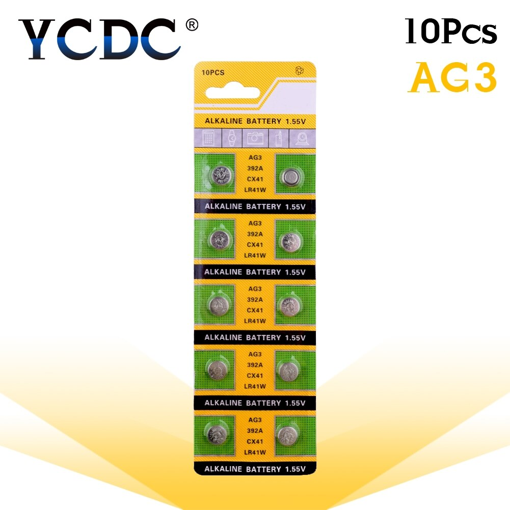 YCDC 10 Uds 1,55 V AG3 LR41 392 baterías de botón SR41 192 L736 384 SR41SW CX41 celular moneda Batería alcalina para relojes de juguete remoto