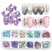 1 Doos 3D Abalone Shell Onregelmatige Nail Art Decorations Uv Gel Vlok Slider Nagels Shimmer Parel Sieraden Tips Manicure Polish LAB03