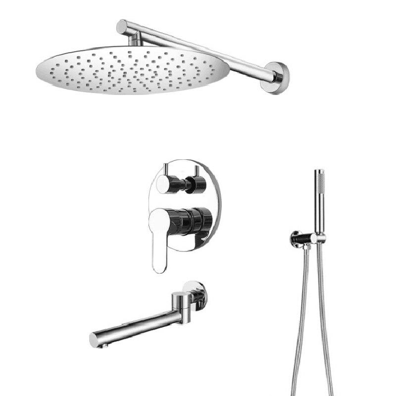 Hongdec sistema de chuveiro montado na parede conjunto combinação com 12 Polegada round rain chuveiro cabeça e bico banheira chuveiro sistema misturador conjunto