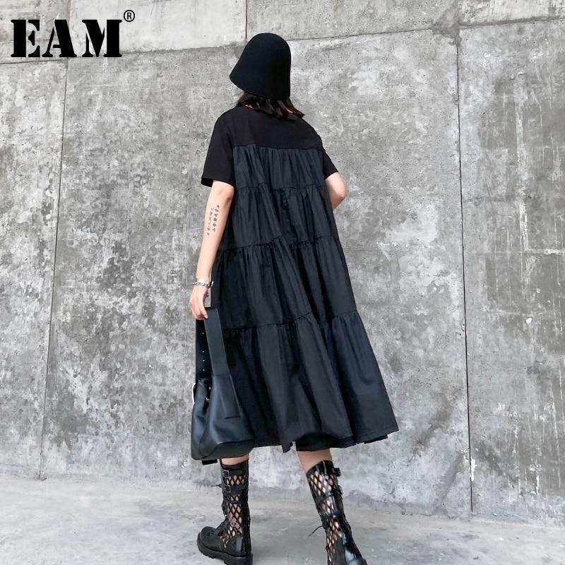 [EAM] Women Black Pleated Split Temperament Dress New Round Neck Short  Sleeve Loose Fit Fashion Tide Spring Summer 2020 1T762