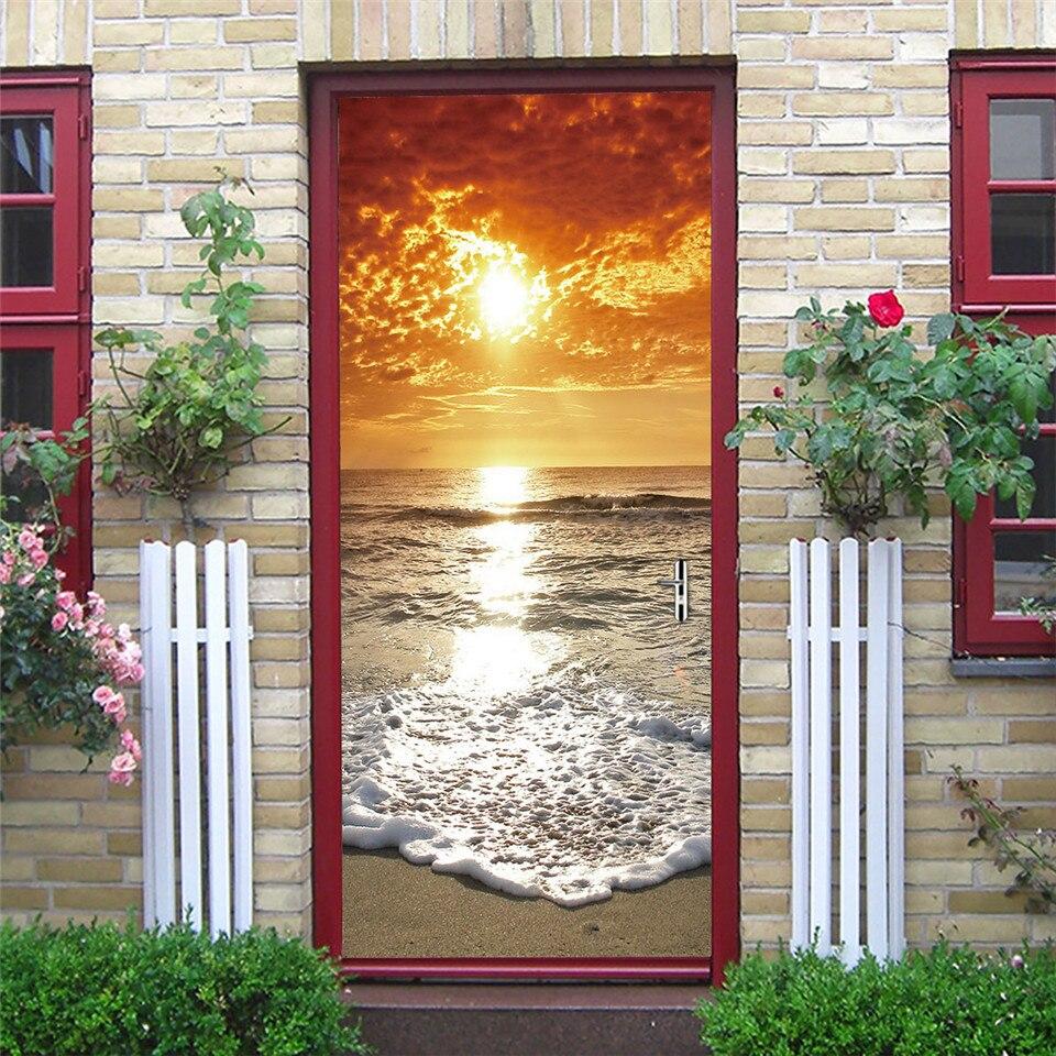 Настенные ПВХ Самоклеящиеся 3D-обои, современные настенные наклейки на пляж, закат, двери, для гостиной, спальни, двери