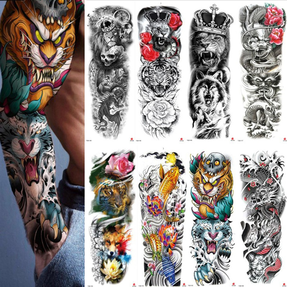 1 шт., водонепроницаемая Временная тату-наклейка, полная рука, большой череп, старая школа, тату-наклейки, поддельные татуировки для мужчин и женщин