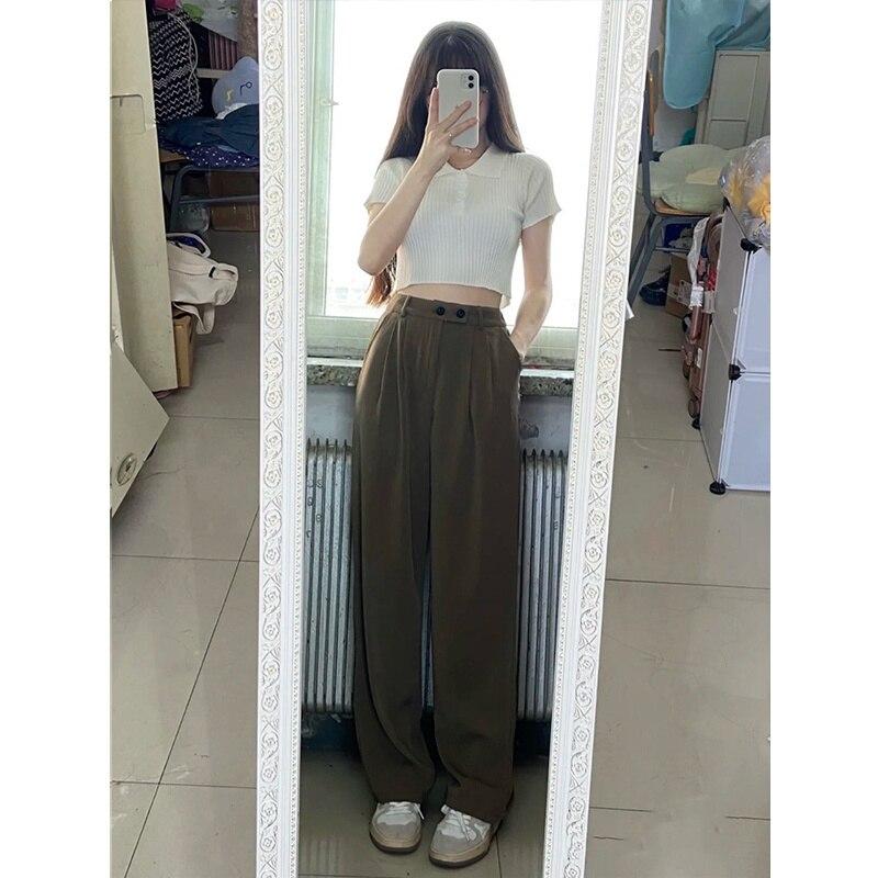 Khaki Casual Suit Pants Women's Summer 2021 New Korean Loose Vertical Feeling Floor Dragging Pants H