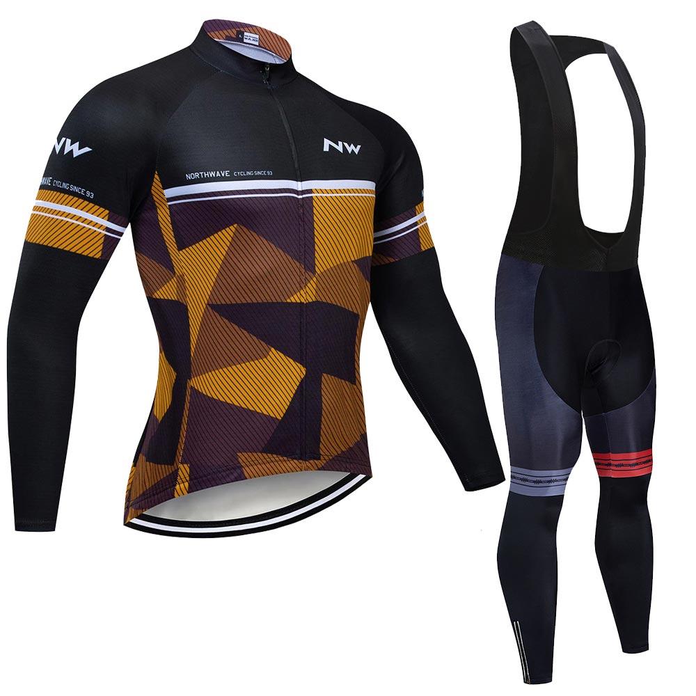 NW hombres de manga larga ciclismo ropa Jersey conjunto ciclismo Maillot deporte uniforme MTB bicicleta ropa ajustada chaqueta hombres ciclo ropa