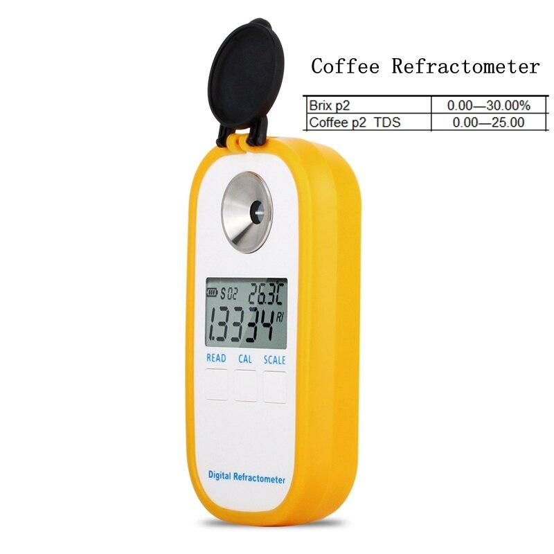 مقياس انكسار القهوة الرقمي 0-30% Brix TDS 0-25 مقياس تركيز سكر القهوة أدوات قياس انكسار القهوة الإلكترونية
