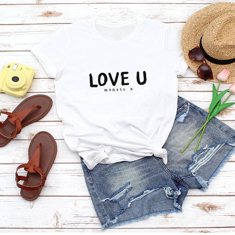 Love U Monsta X T Shirt Mulheres Kpop Quem Você Ama T-Shirt Ocasional Jacaré MonstaX Camisetas Monbebé K-Pop Fandom de Roupas