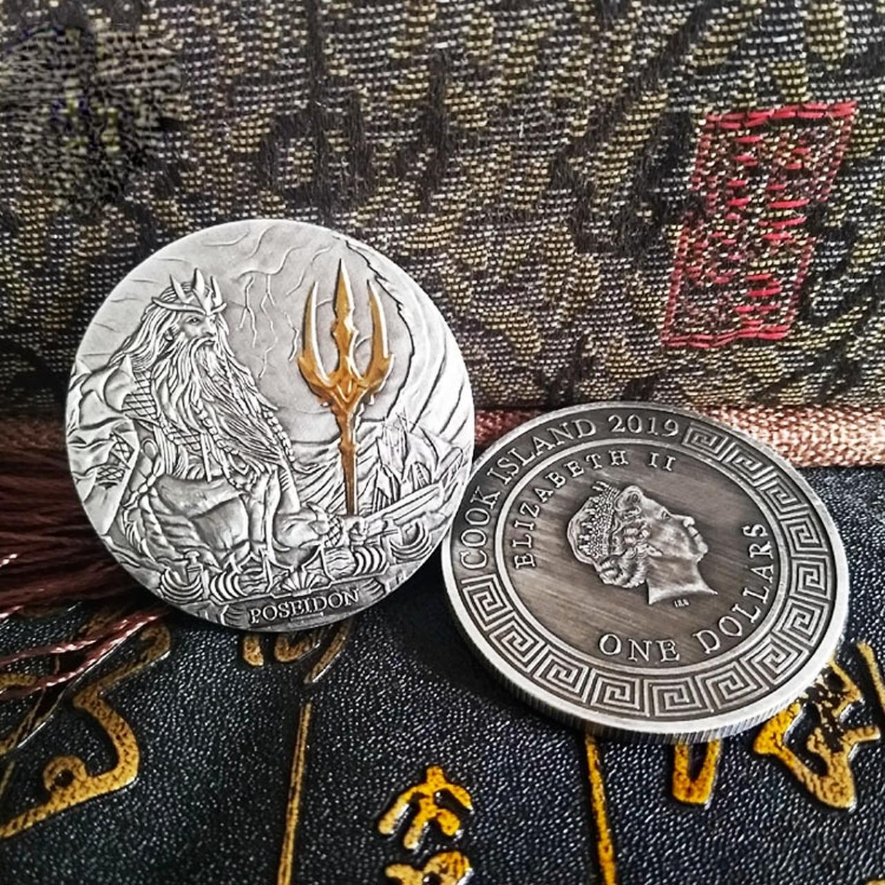 Старинный греческий морской Бог, поидон и Элизабет II, портрет головы, серебряные монеты, памятная монета металлический сувенир туриста Crafts