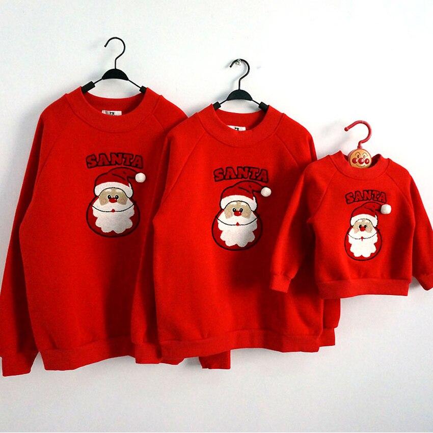 Família jammies natal combinando pijamas férias pjs camisolas feias para adultos pele grosso algodão quente papai noel dos desenhos animados hoodies
