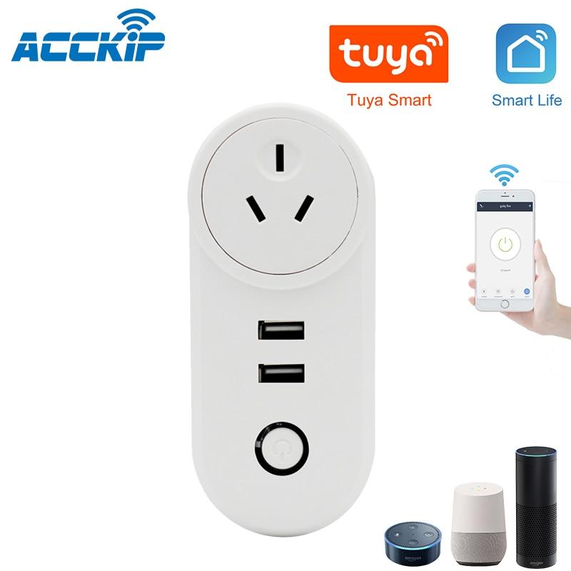 ACCKIP Tuya AU WiFi enchufe USB inteligente Australia toma de corriente inteligente Adaptador De Corriente De Viaje Universal