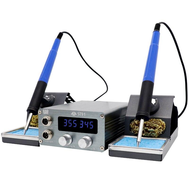 St-91 الاستاتيكيه مزدوجة لحام الجدول قابل للتعديل درجة الحرارة الكهربائية سبيكة لحام إصلاح الهاتف المحمول السريع