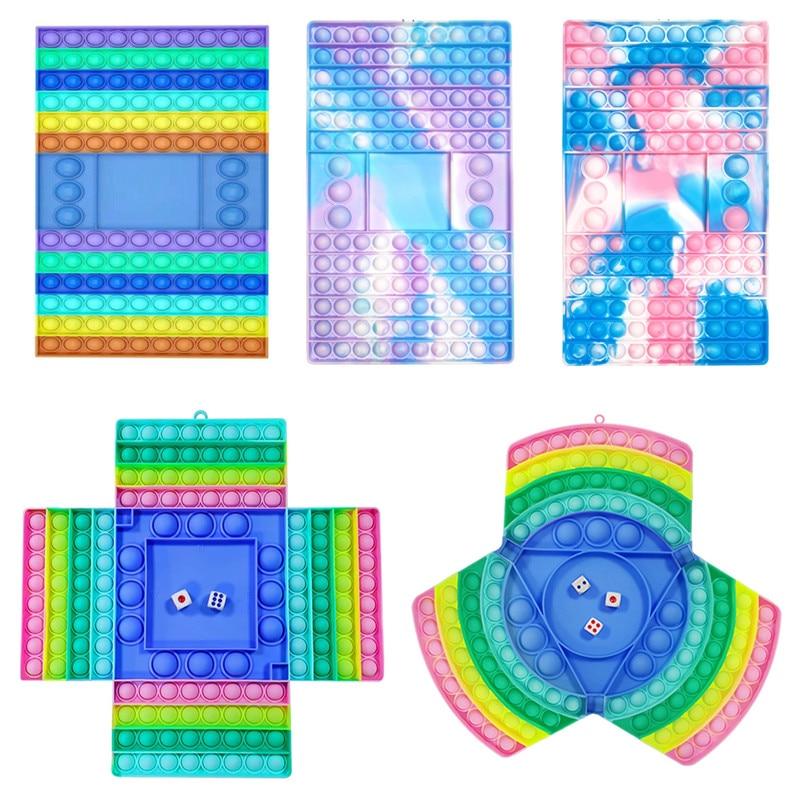 New!autism Pops Big Game Fidget Toy Rainbow Chess Board Push Bubble Popper Fidget Sensory Toys Anti Stress Children Adults Gifts