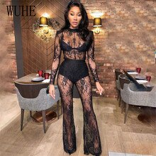 WUHE Black Floral Lace Jumpsuit See Through Flare Patchwork Sexy Long Sleeve O Neck Package Hip Skin