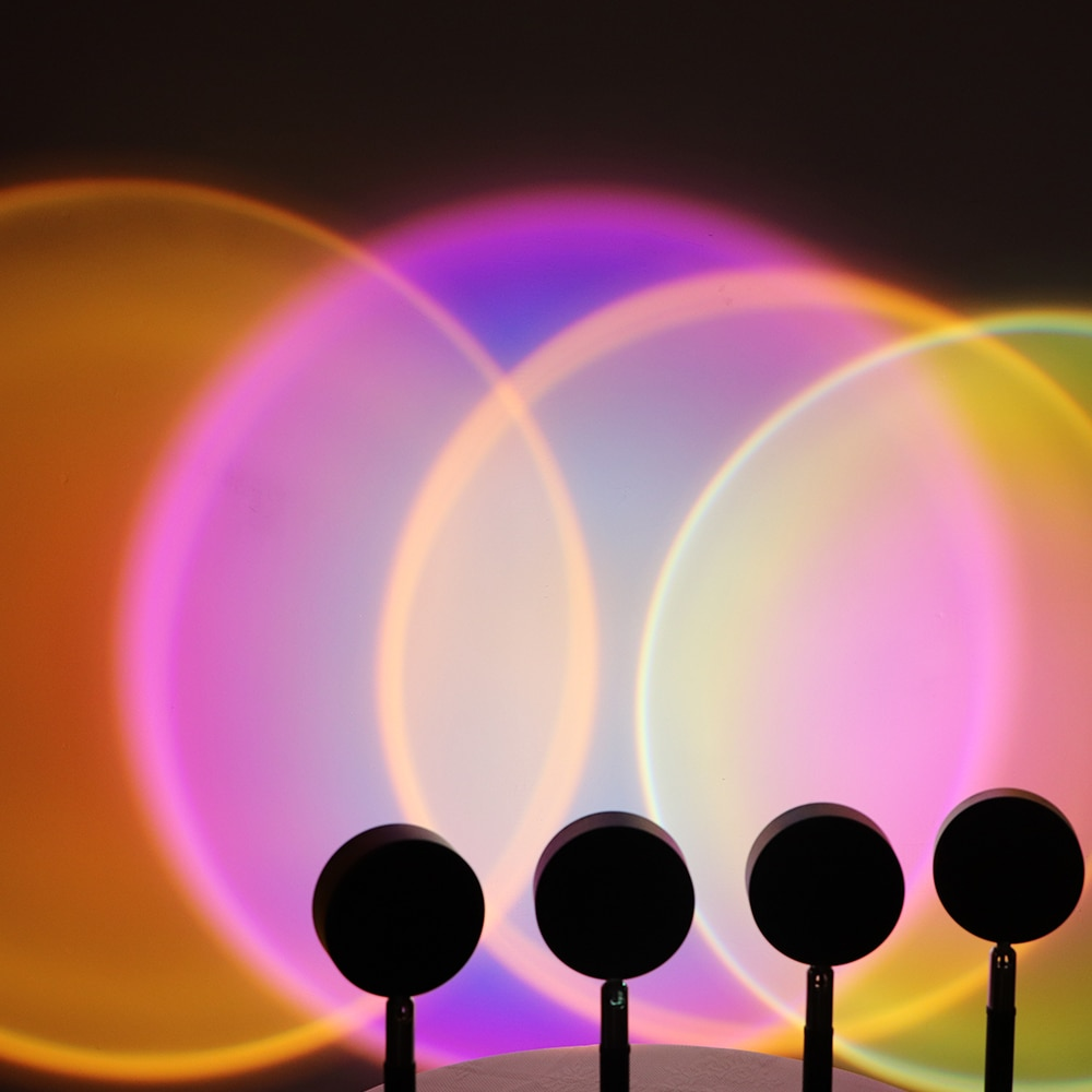 USB Sunset Projector Lamp Led Night Light Rainbow Atmosphere Table Lamp for Home Bedroom Coffe shop Background Wall Decoration enlarge