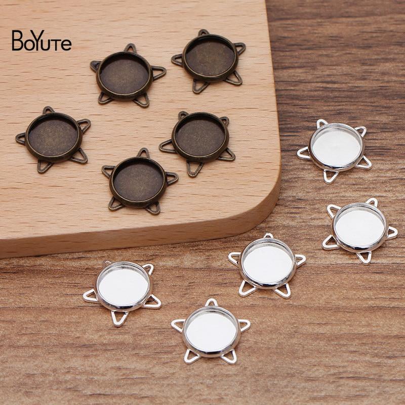 BoYuTe مخصص (200 أجزاء/وحدة) صالح 10 مللي متر كابوشون حجر قاعدة فارغة إعداد صينية لتقوم بها بنفسك مجوهرات اكسسوارات المواد اليدوية