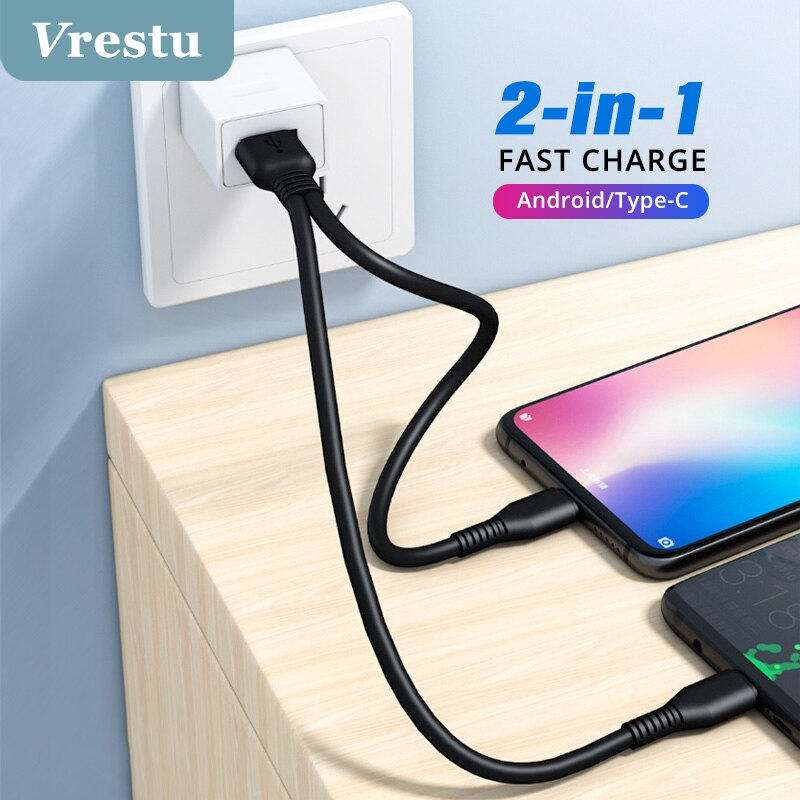 Cable divisor USB Tipo C 2 en 1, Cable de carga, dispositivo...