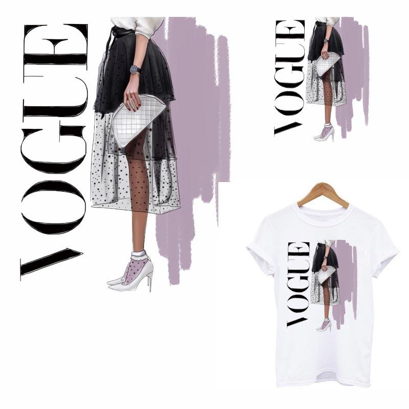 Moda dama térmica tiras etiqueta ropa sensibles al calor de hierro-en las transferencias para ropa de niña de moda camiseta sudaderas con capucha apliques