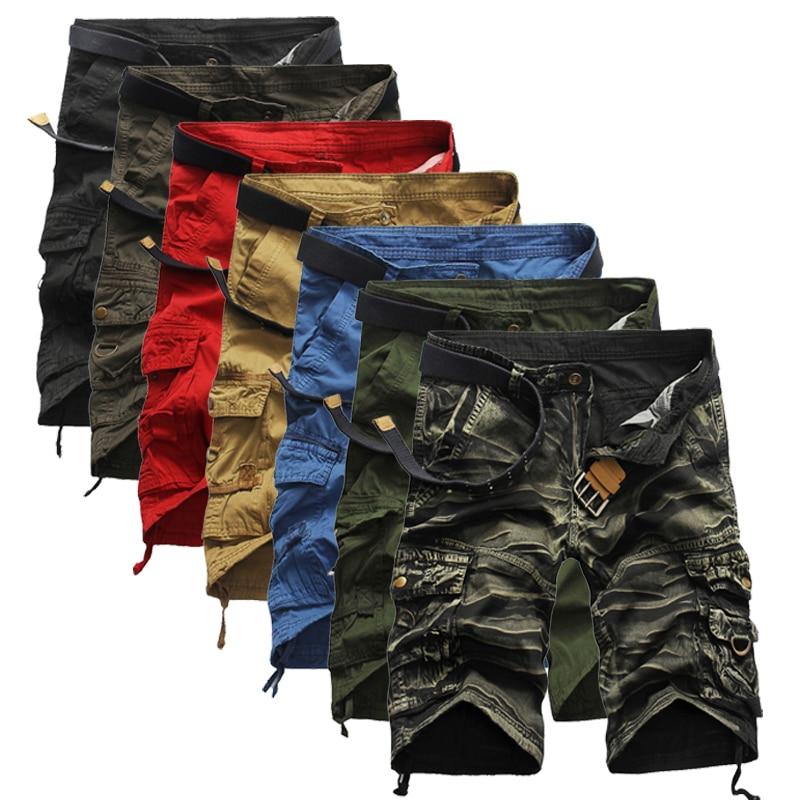 Шорты-карго мужские однотонные, прямые свободные брюки-карго со множеством карманов, лето 2021 фото