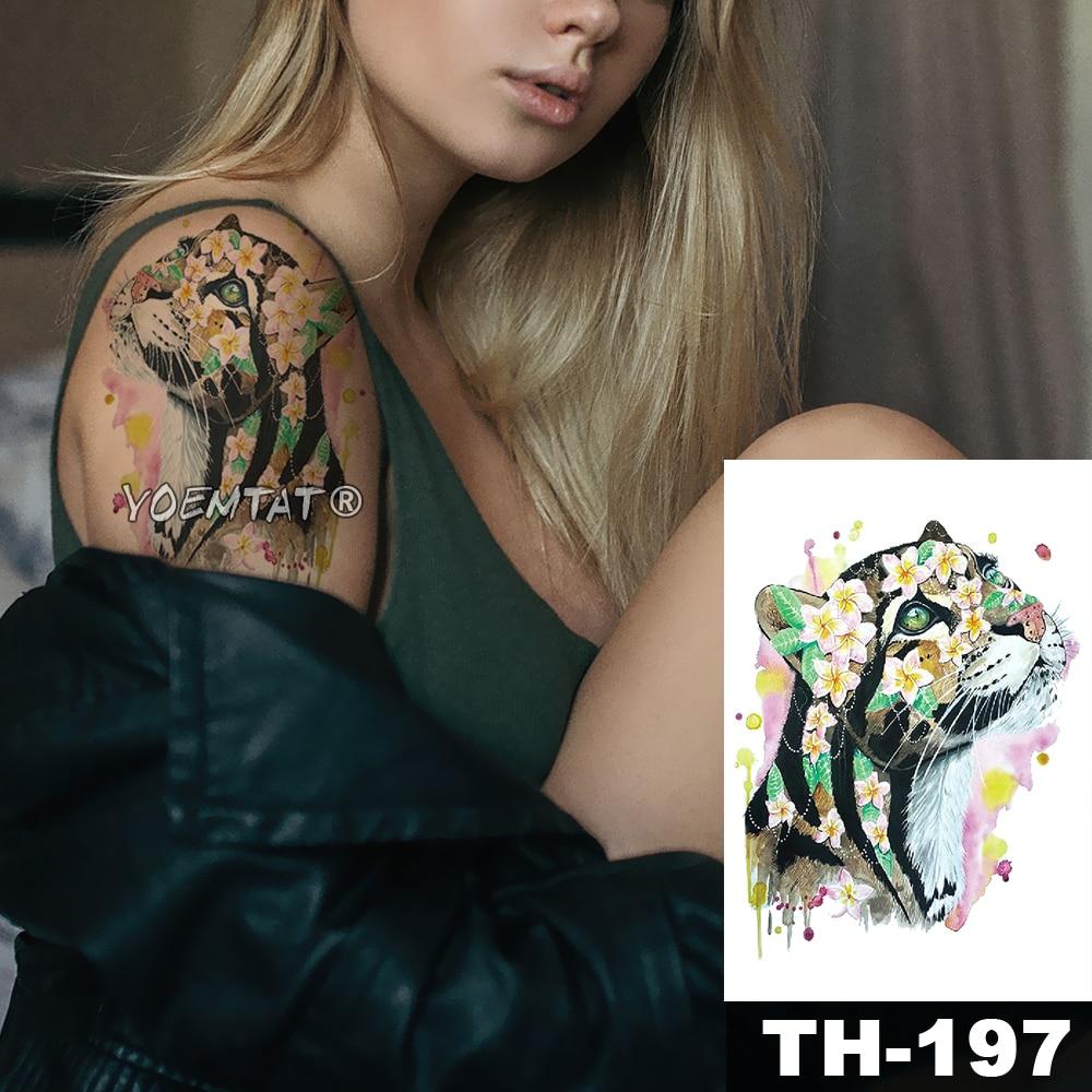 Tatuaje temporal a prueba de agua pegatina acuarela leopardo cereza patrón animales agua transferencia arte corporal flash tatuaje falso