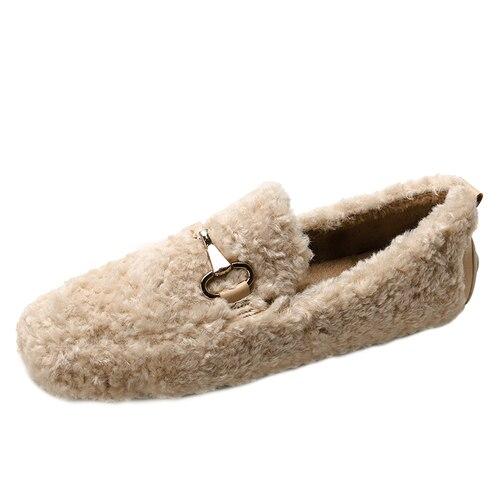 Dacomfy الفاخرة النساء المتسكعون السيدات كسول أحذية الانزلاق على أحذية مسطحة زخرفة المعادن حذاء بدون كعب نعال تدفئة مريحة