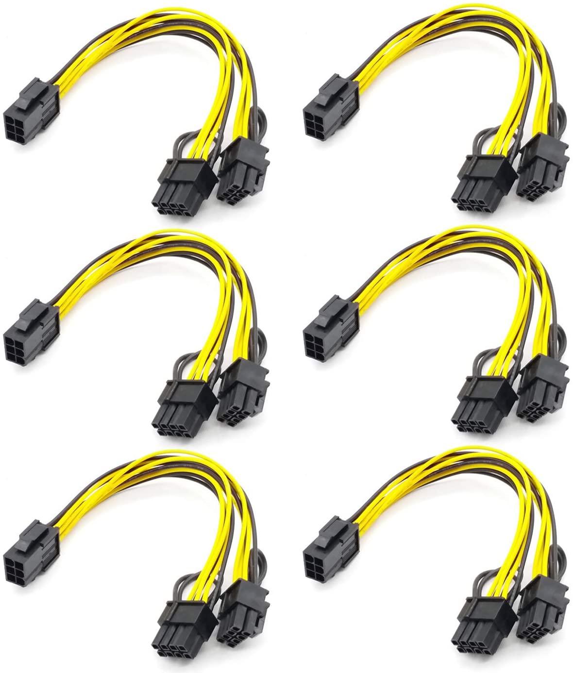 6 12pcs pci e adapter cable 6pin to dual 8pin splitter cable computer accessories pci e converter cord dropshipping supported 6PCS PCI-E 6-pin to Dual 6+2-pin (6-pin/8-pin) Power Splitter Cable Graphics Card PCIE PCI Express 6Pin to Dual 8Pin Power Cable