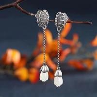 sterling silver vintage butterfly hetian jade inlaid magnolia lost an asymmetric earrings ancient style long female earrings