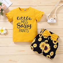Baby Clothes Set Newborn Infant Clothing Baby Girls Ruffled T-shirt Tops+floral Print Shorts Outfits