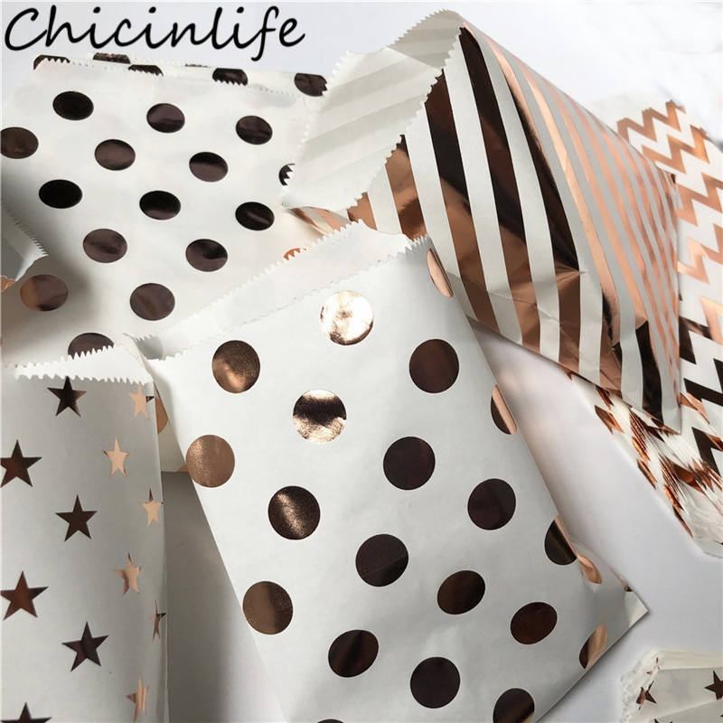 Chicinlife 10Pcs Wave Point Dot Stripe Paper Bags Birthday Party Candy Treat Cookies Gift  Wrapping